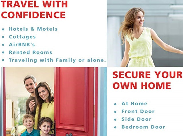 This lightweight, portable door lock that can be easily installed and removed in seconds on any door that opens inwards! Enjoy that feeling of additional safety, security, and privacy at home or when you travel.