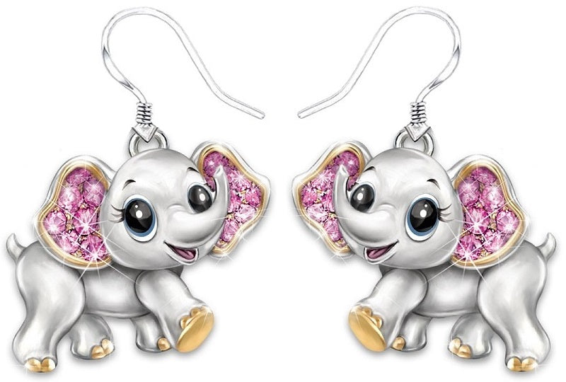 The fully sculpted, hand-enameled elephant pendant features pink crystals that glisten in the light. Now, celebrating every beautiful moment in your life with this gorgeous elephant necklace and earrings.