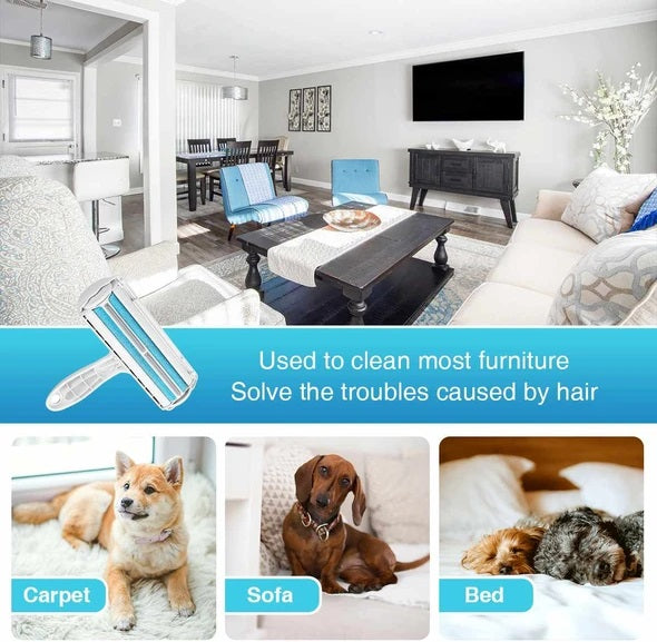 This Petto™ Pet Hair Remover Roller is the easiest, most convenient way to remove shedding from your furniture, carpets, bedding, and more! It is designed with a brush that uses an electrostatic charge to attract hair. The built-in dust bin collects hair and particles that have been swept up, allowing easy disposal of hair and lint.