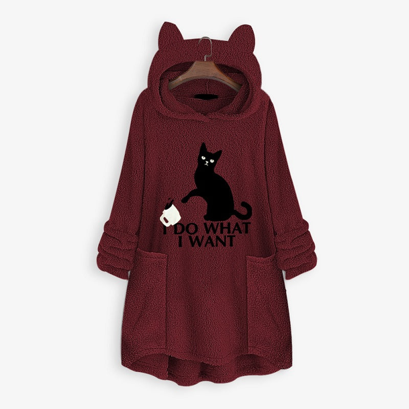 Stay comfy and cozy throughout the day while wearing this adorable oversized cat ear hoodie. Equally ideal to wear them inside to slouch on your couch while watching Netflix and having a glass of wine.  Available in 7 different colors, each hoodie is made from a Fleece Cotton Blend Material and feels super soft and comfy.