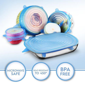These silicone stretch lids provide a clear, airtight seal to keep your food fresh and prevent messy spills.  Durable and safe, with extra thick silicone, these lids won't tear or warp and can be used over and over.
