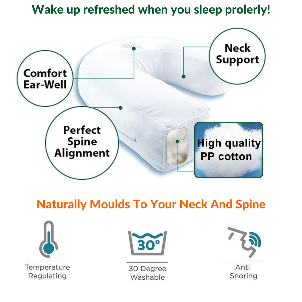 Chiropractors and doctors developed this ProSpine™ Therapeutic Side Sleeper Pillow. It helps promote proper alignment of your head, neck, and spine, so you will sleep properly and wake up refreshed and less stiffness.