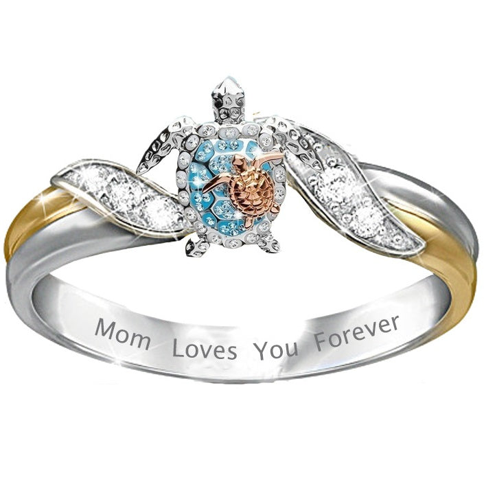Our mom and baby turtle ring symbolize health, longevity, and relationship mom love.