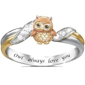 This lovely owl ring is a real hoot and a wonderful way to express your love for your loved ones.  This adorable ring features a hand-painted enameled owl with dazzling genuine crystals all over the owl's round belly.