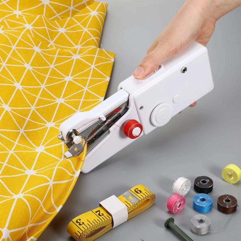 Portable HandHeld Sewing Machine is so much easier and faster to use than a needle and thread. Small enough to fit in the palm of your hand, allowing great control and easy operation. An invaluable tool when you need a quick solution for simple on the spot jobs like repairs and alterations.