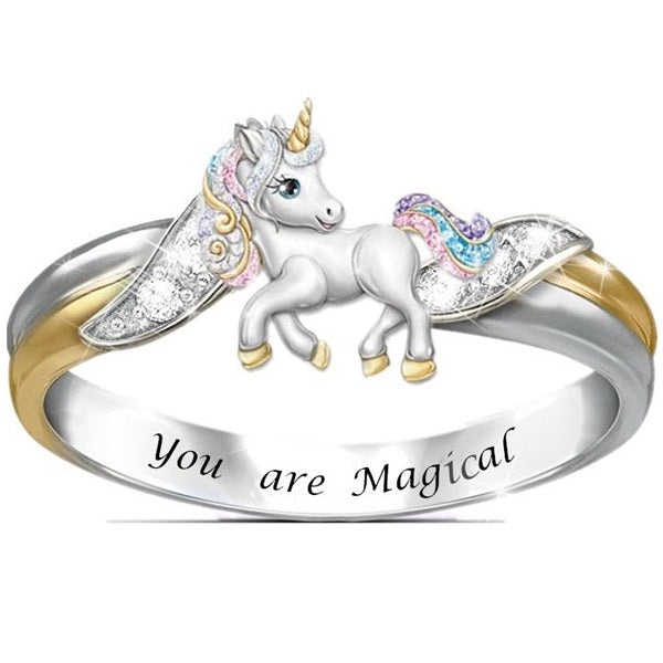 You are magical and unique, just like a unicorn! With an open mind and a positive spirit, life is like a colorful rainbow. Now, celebrating every beautiful moment in your life with this gorgeous unicorn ring.