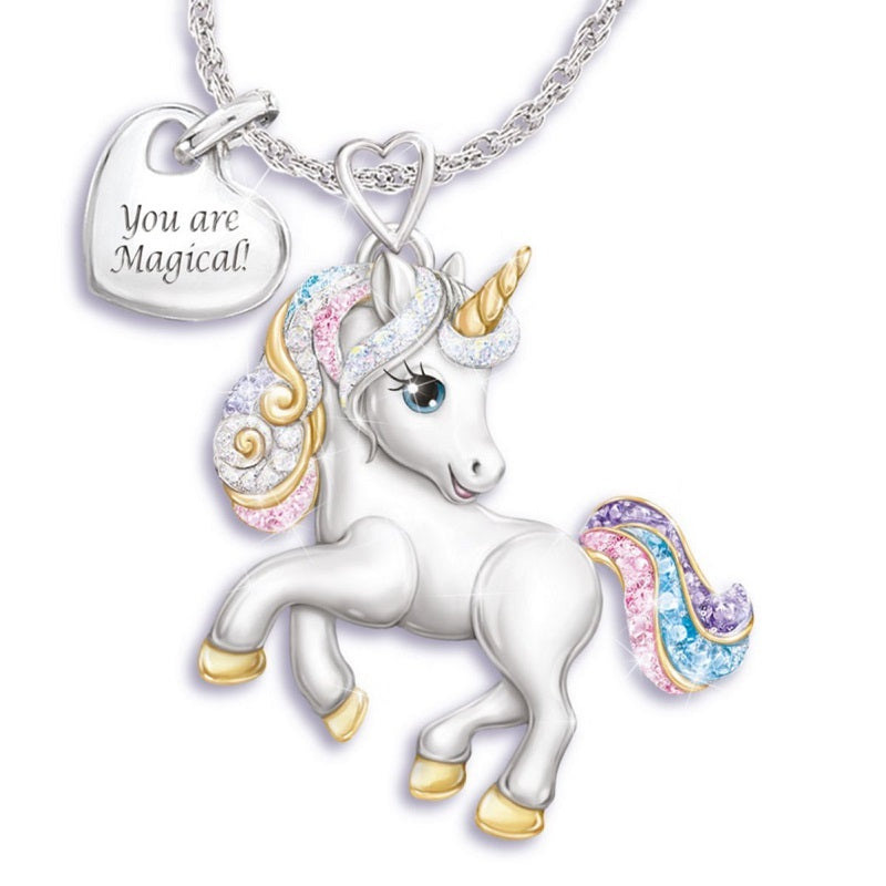 You are magical and unique, just like a unicorn! With an open mind and a positive spirit, life is like a colorful rainbow. Now, celebrating every beautiful moment in your life with this gorgeous unicorn necklace and earrings.