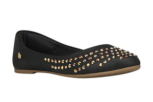 Black Flats with Crystals Studs