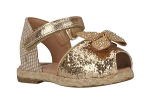 Toddler Peep Toe Gold Espadrille