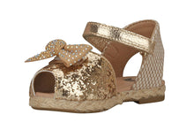 Load image into Gallery viewer, Toddler Peep Toe Gold Espadrille