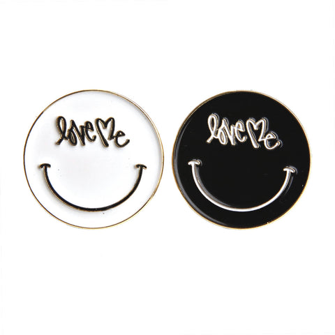 Set of 2! Black and White Smiley Pin