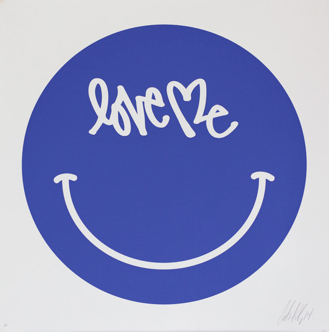 "Smiley Print - 28"" x 28"" - BLUE  Hand Signed Edition of 30"