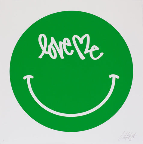 "Smiley Print - 28"" x 28"" - GREEN Hand Signed Edition of 30"