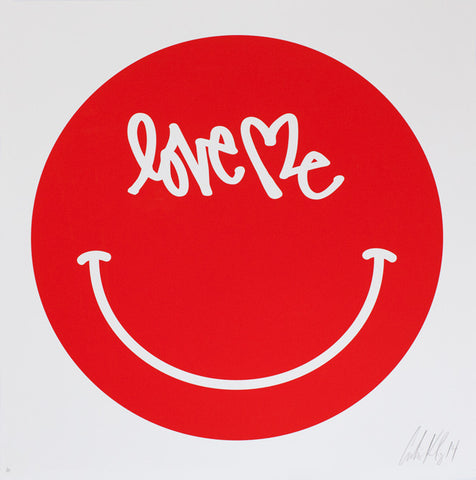 "Smiley Print - 28"" x 28"" - RED Hand Signed Edition of 30"