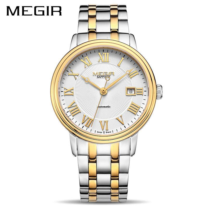MEGIR Automatic Mechanical Watch Stainless Steel Top brand Luxury Business Wristwatches with Japan Movement 96001 - MEGIR