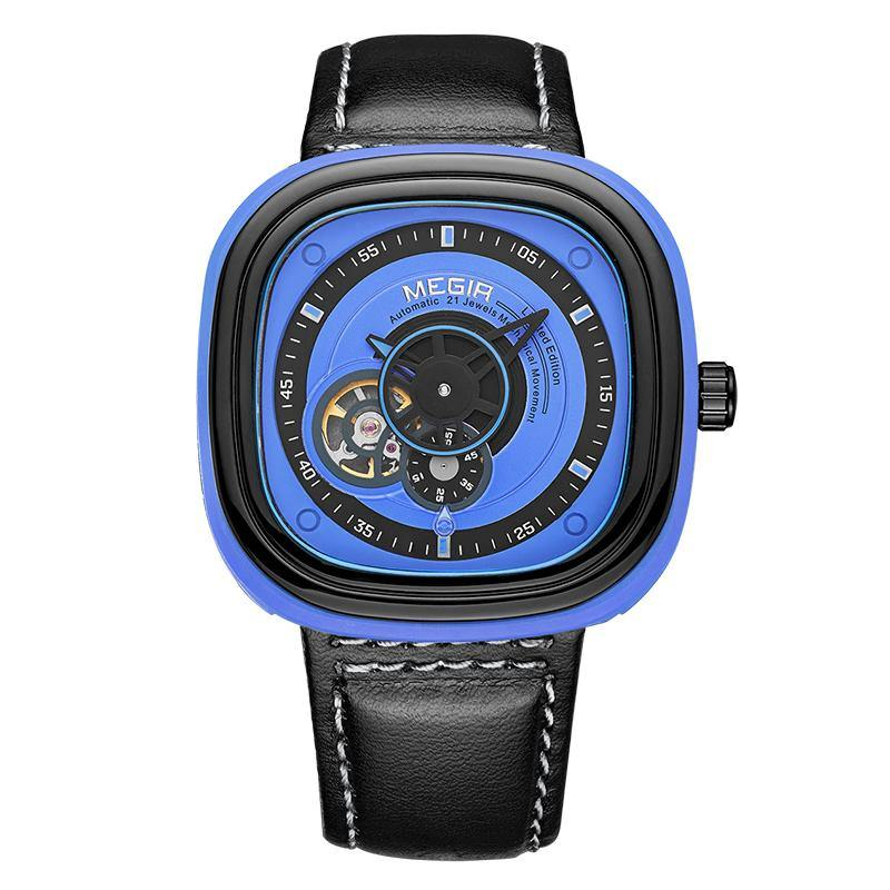 Megir Army Brand Mechanical Watches Fashion Leather Wristwatch 3012 - MEGIR