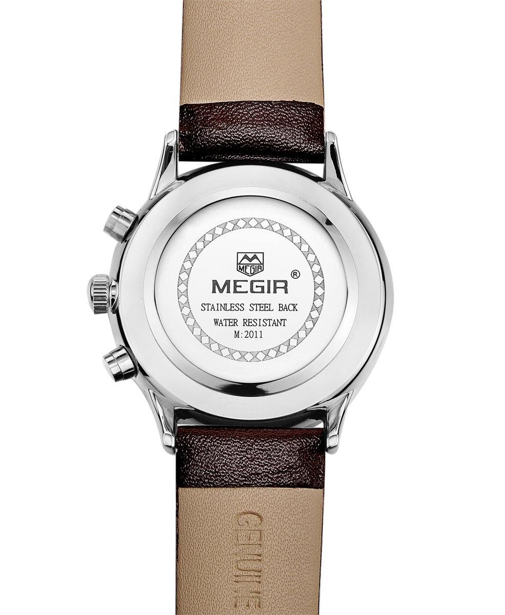 MEGIR Men Business Analogue Quartz Watch with Fashion Brown Leather Strap 2011 - MEGIR