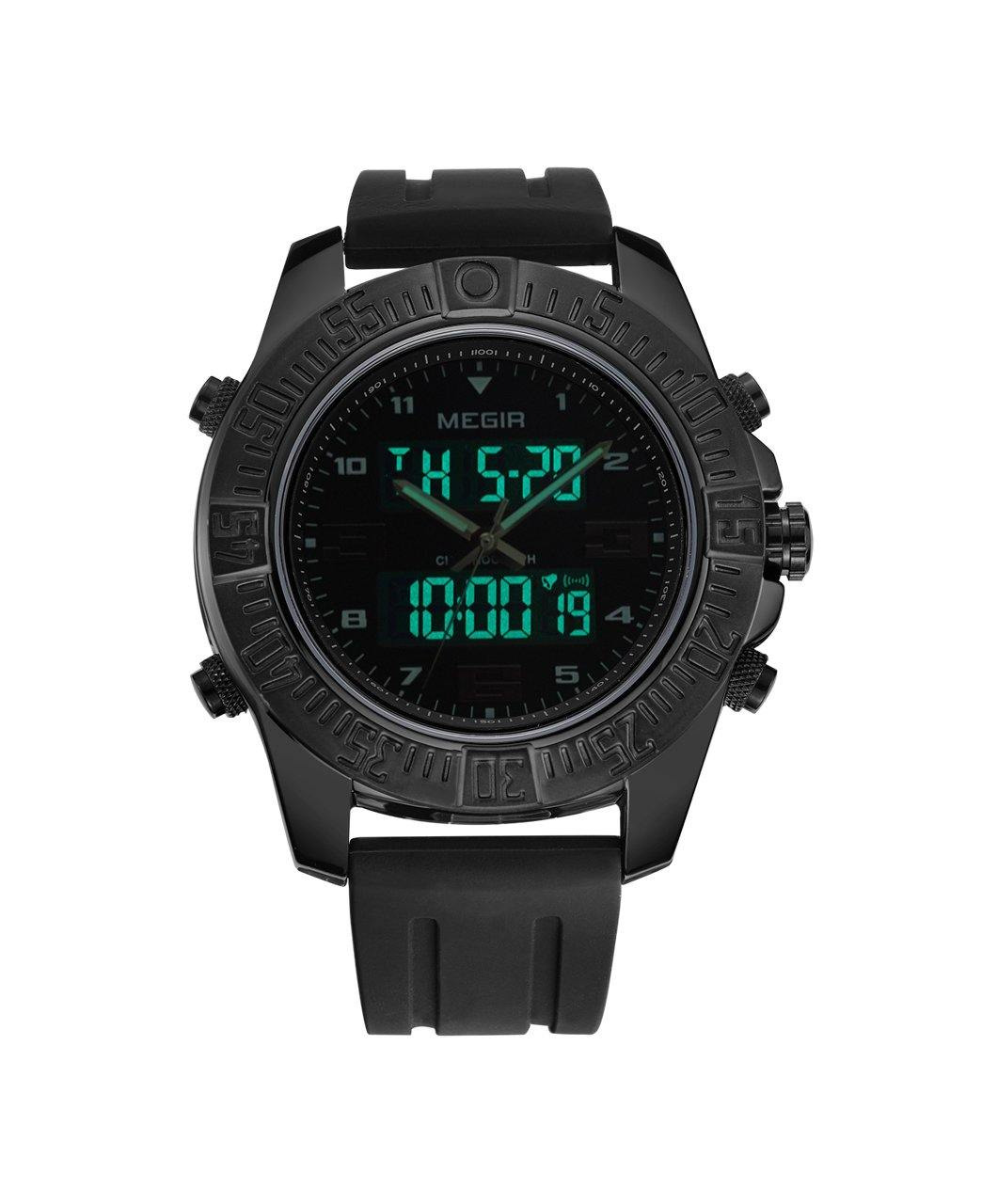 MEGIR Digital quartz watches with sports backlight and black silicone strap 2038 - MEGIR