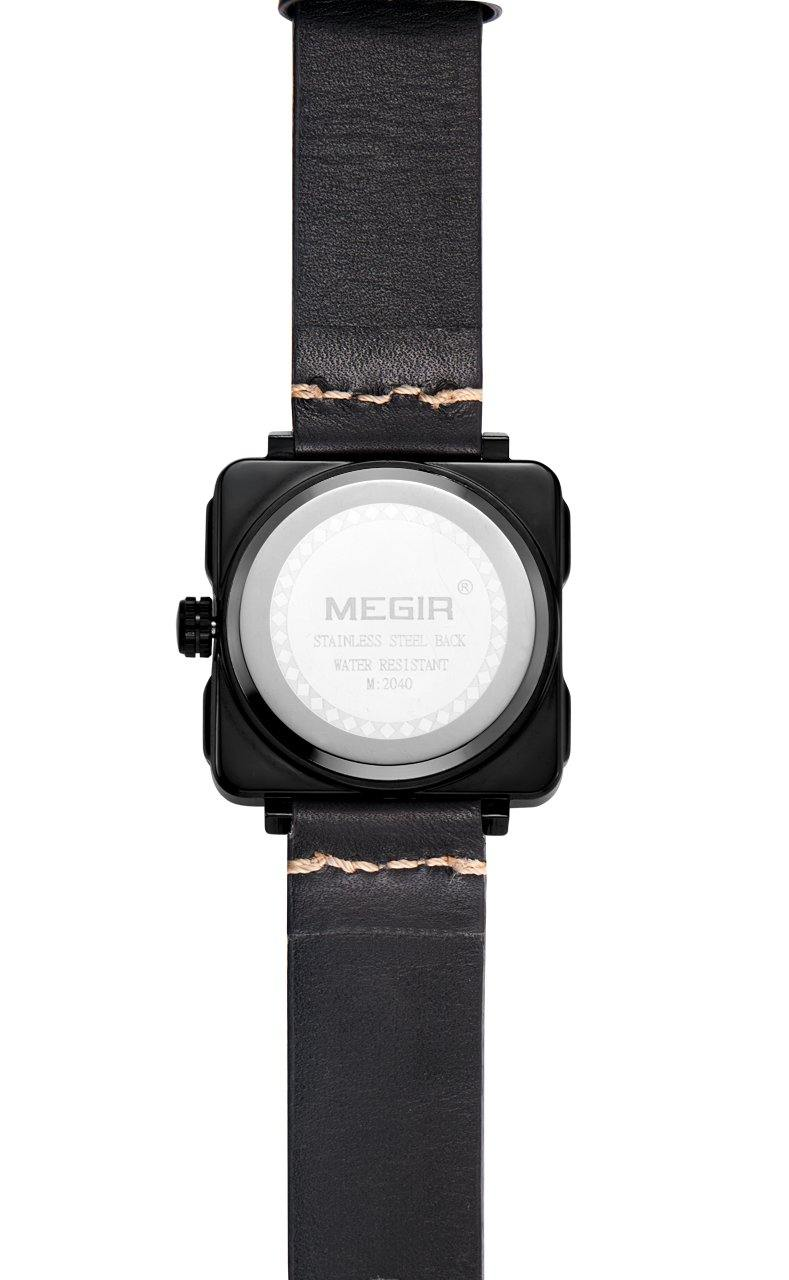 MEGIR Men's Sports Watch, Leather Watch, Square Watch 2040 - MEGIR