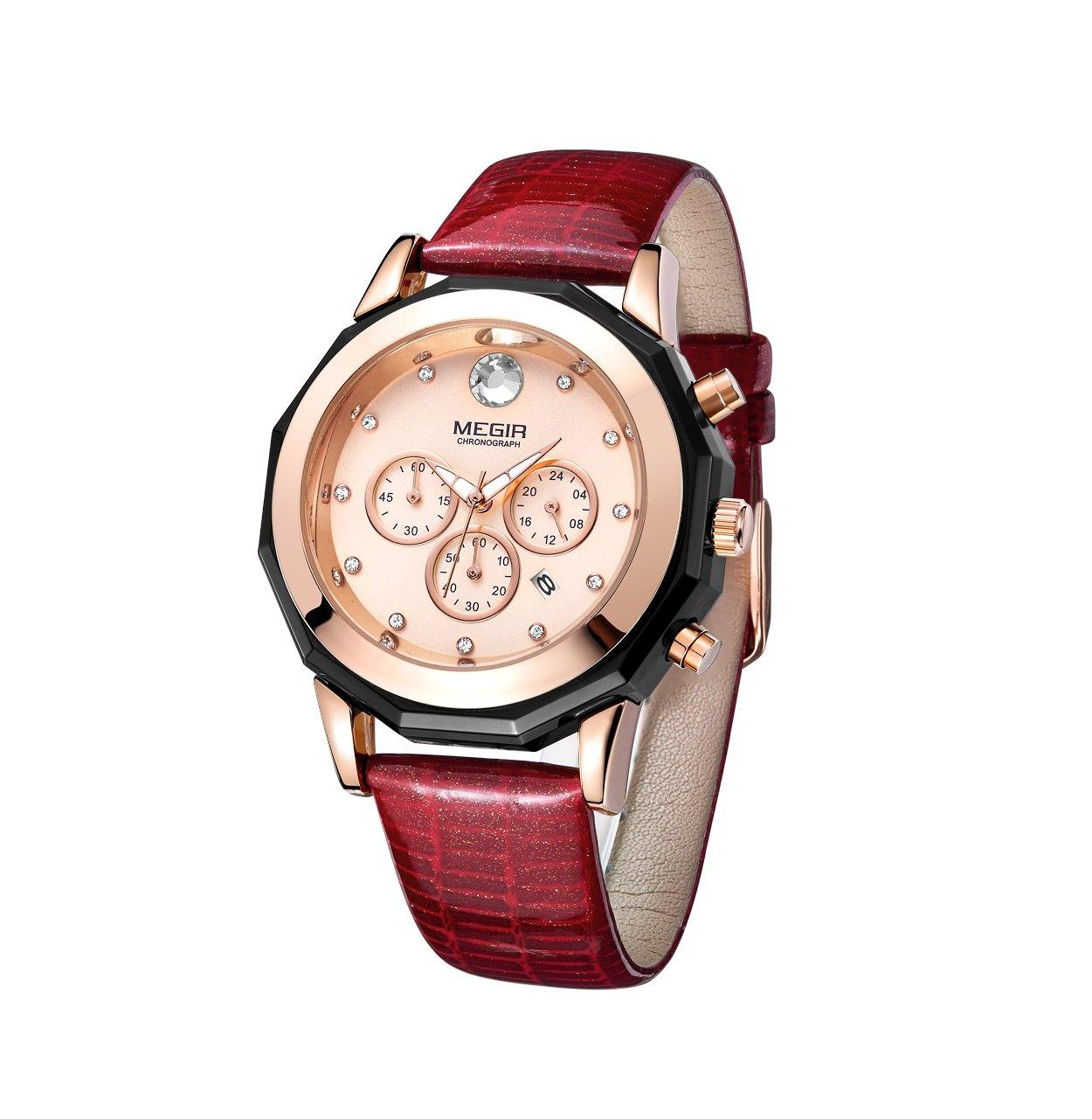 Quartz watches with red leather strap and 24-hour chronograph for women 2042 - MEGIR