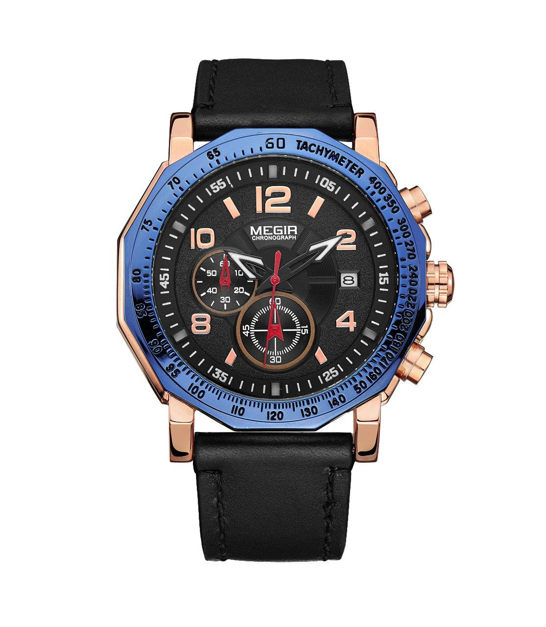 MEGIR men's sports watch, fashion leather strap, chronograph, military quartz watches 2048 - MEGIR