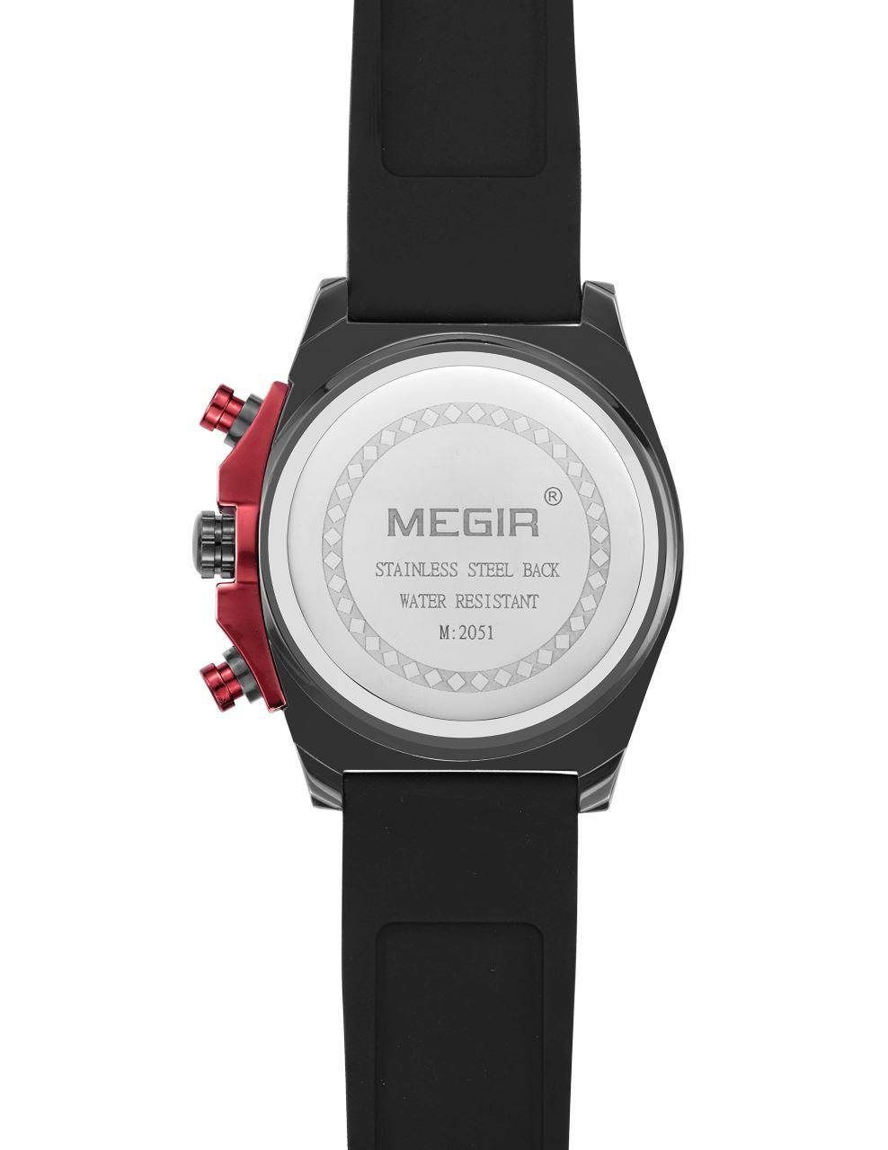 MEGIR Men's Quartz Sports Watch Big Dials Silicone Strap Watch 2051 - MEGIR