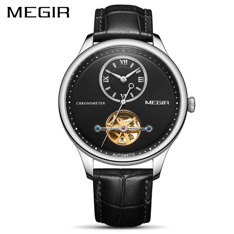 MEGIR Men's Leather Sport Hand Wind Mechanical Watches  Luxury Waterproof  62070 - MEGIR
