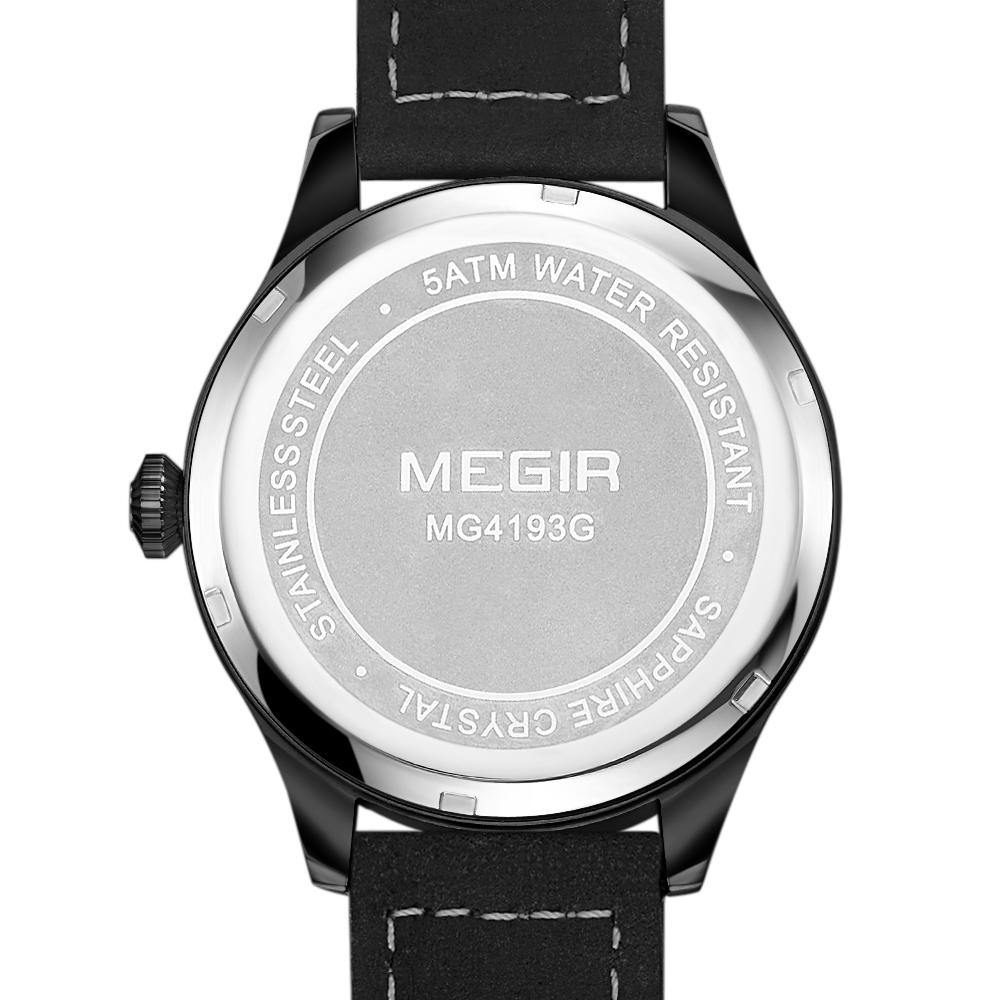 MEGIR Mens Watches  Luxury Quartz Sports Watch Clock Men Leather Phases of the Moon 4193 - MEGIR