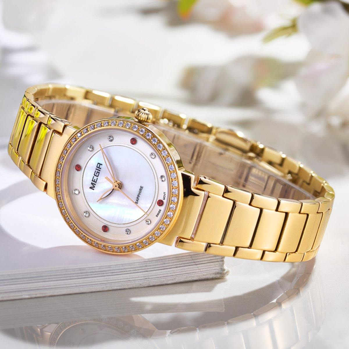 MEGIR Luxury Women Sapphire Watches Stainless Steel Ladies Quartz Watch Women 4164 - MEGIR