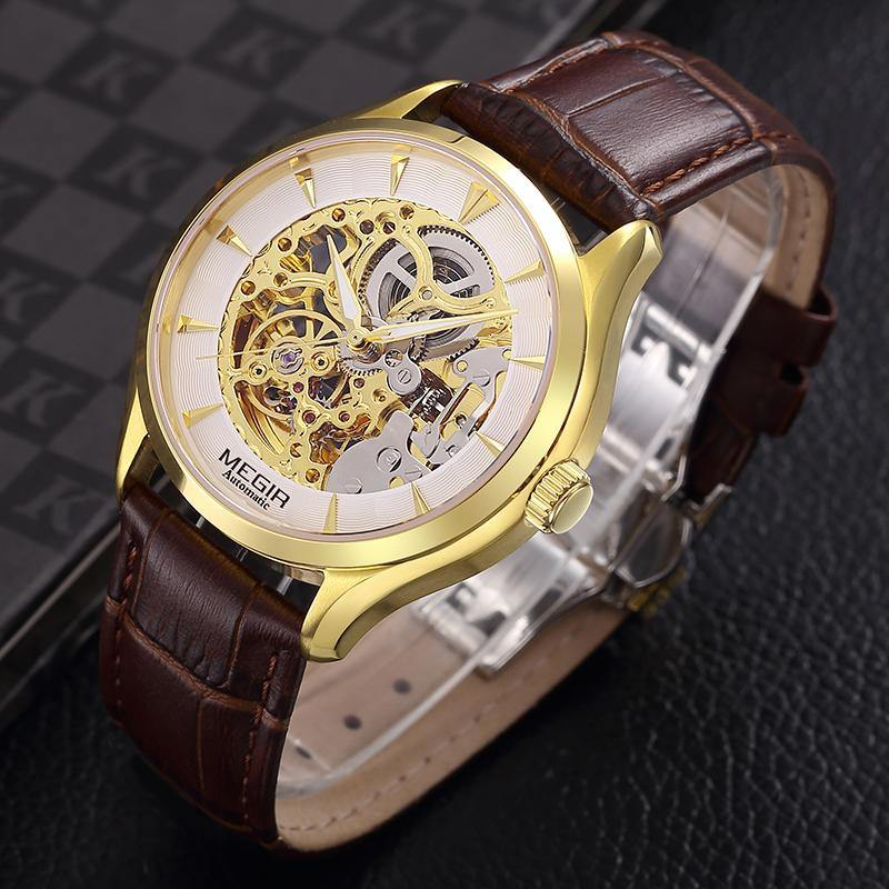 MEGIR Men's Leather Sport Hand Wind Mechanical Watches  Luxury Waterproof  62020 - MEGIR