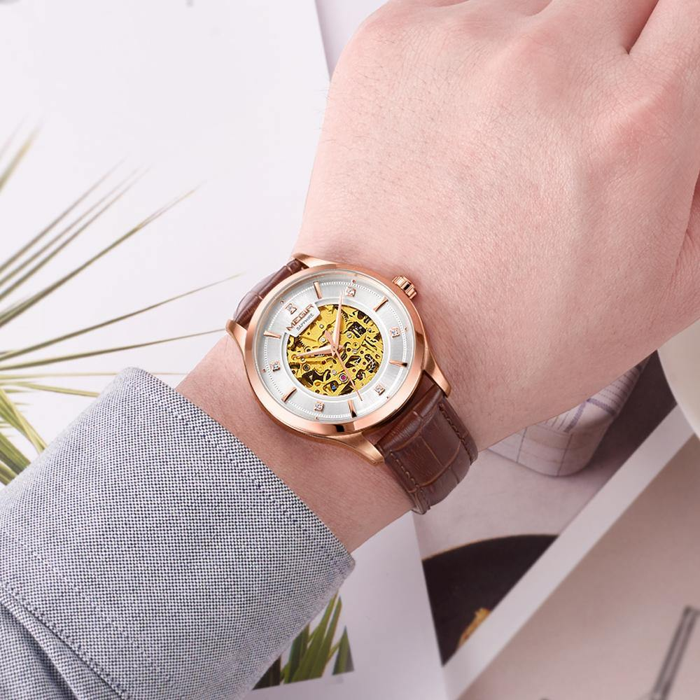 MEGIR Automatic Mechanical Watches Luxury Skeleton Men Watch Clock Business Leather watches 62058 - MEGIR