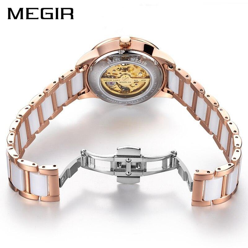 MEGIR Ceramic Diamond Skeleton Ladies  Automatic Mechanical  Watch  MC62047 - MEGIR