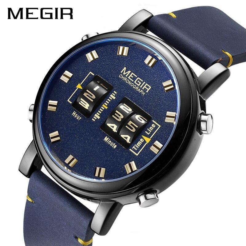 MEGIR Mens Watches Top Brand Luxury Quartz Sports Watch Clock Men Leather Military Wristwatch 2137 - MEGIR