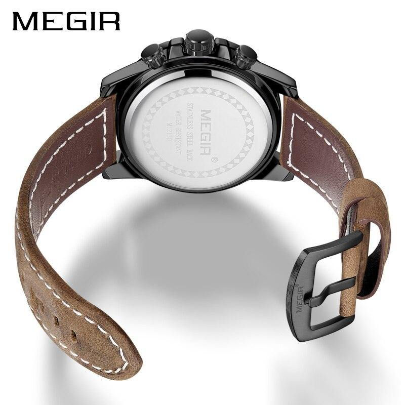 MEGIR Creative Wristwatch Man Watch Waterproof Leather Mens Watches  2130 - MEGIR