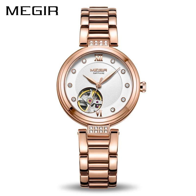 Luxury MEGIR Mechanical Women Watches Fashion Diamond Automatic Women Ladies 62060 - MEGIR