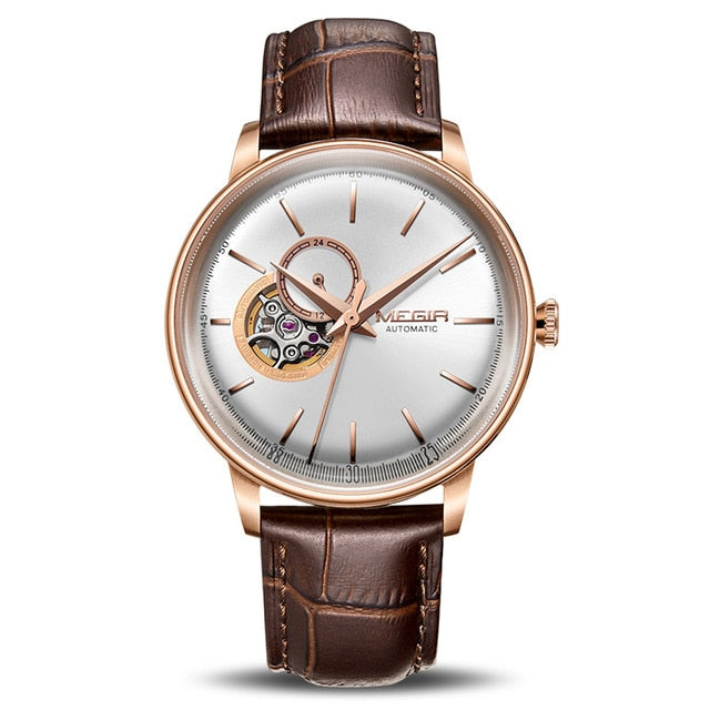 MEGIR Automatic Mechanical Watches Luxury Skeleton Men Watch Clock Business Leather watches 62057 - MEGIR