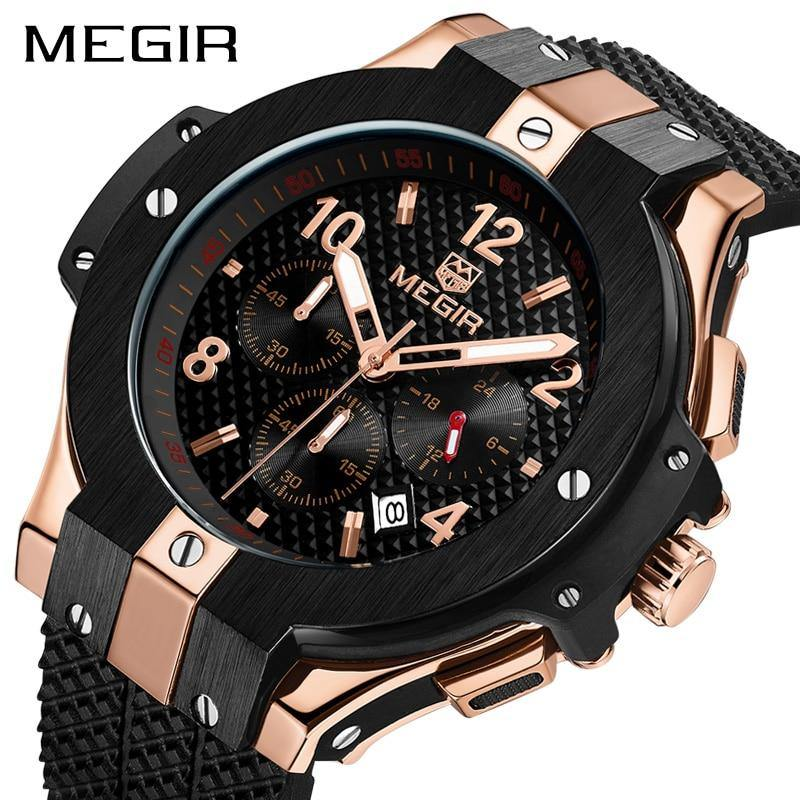 MEGIR Chronograph Sport Watch Men Creative Big Dial Army Military Quartz Watches 2050 - MEGIR