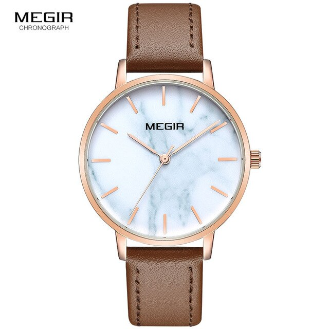 MEGIR Leather Strap Quartz Watches for Women Simple Analogue Ultra Thin Wristwatch for Lady 4204 - MEGIR