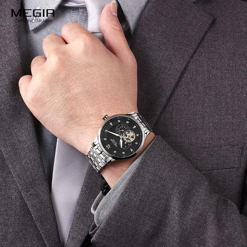 MEGIR Men Stainless Steel Business Watches  Luxury Hand Wind Mechanical 62053 - MEGIR