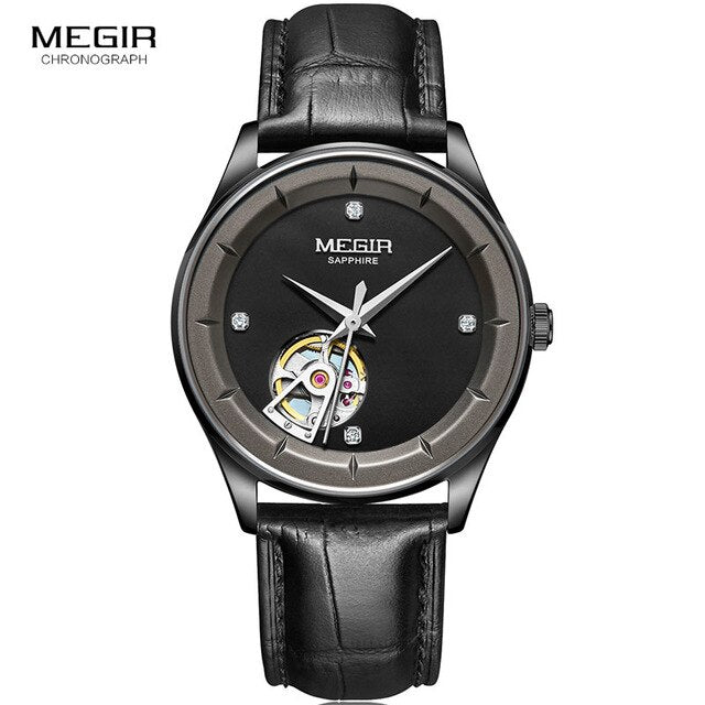 MEGIR Men's Hand Wind Leather Mechanical Watches Top Brand Black Casual Military Sport  62059 - MEGIR