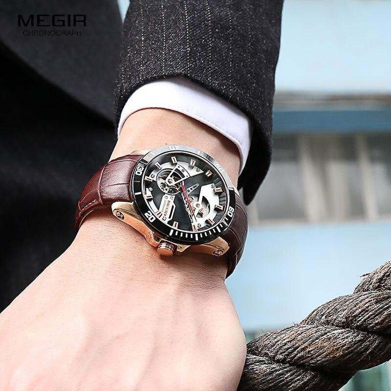 MEGIR Men's Leather Sport Hand Wind Mechanical Watches  Luxury Waterproof  62069 - MEGIR