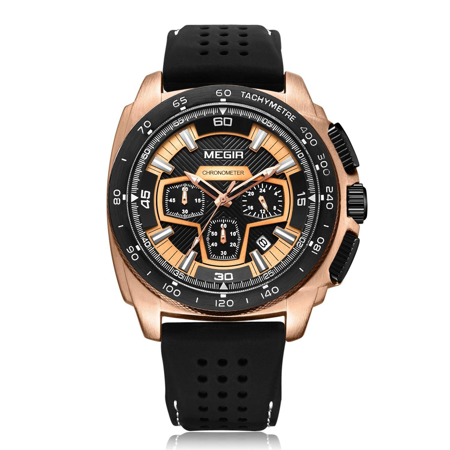 Megir Sports Timing Calendar Waterproof Wrist Quartz Watches for Men 2056 - MEGIR