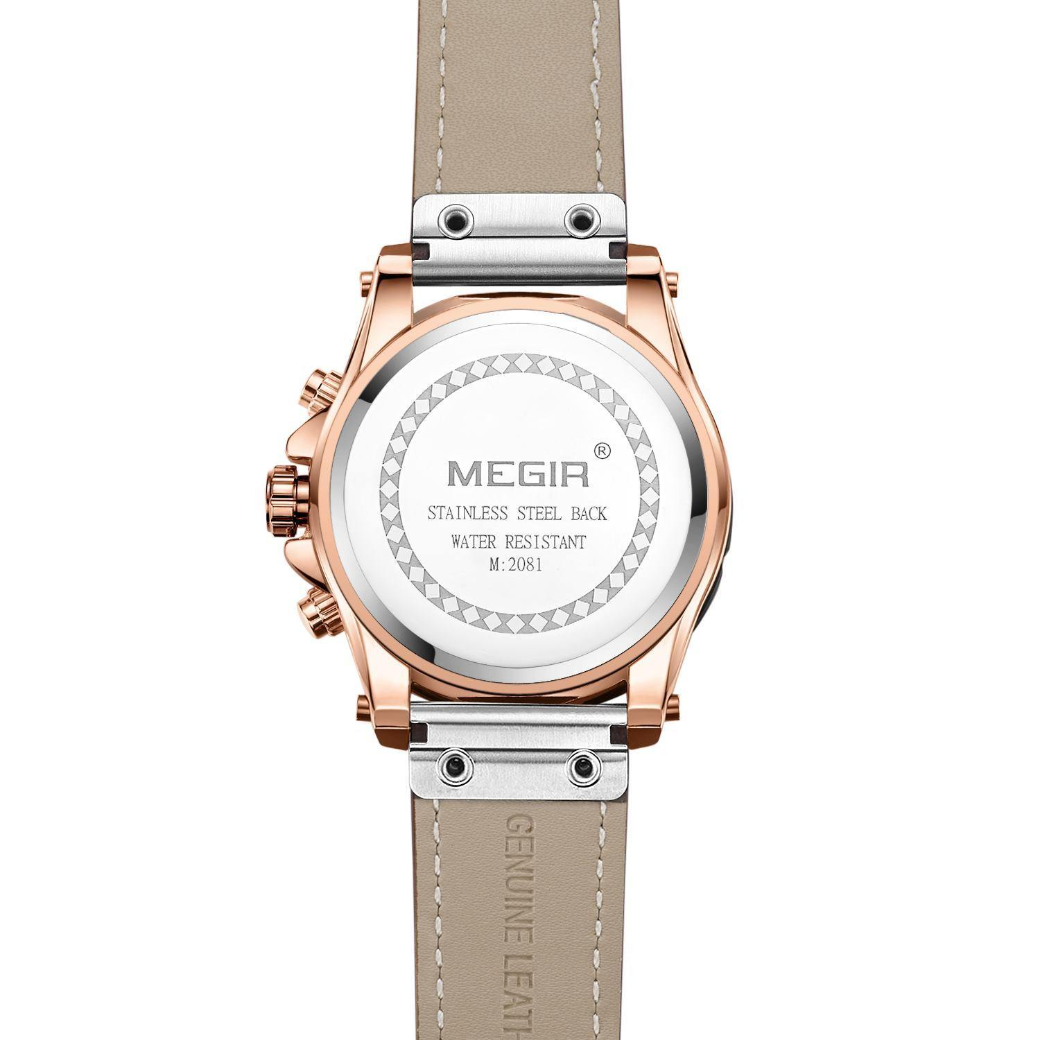 Megir Men Quartz Watch with Leather Band 2081 - MEGIR