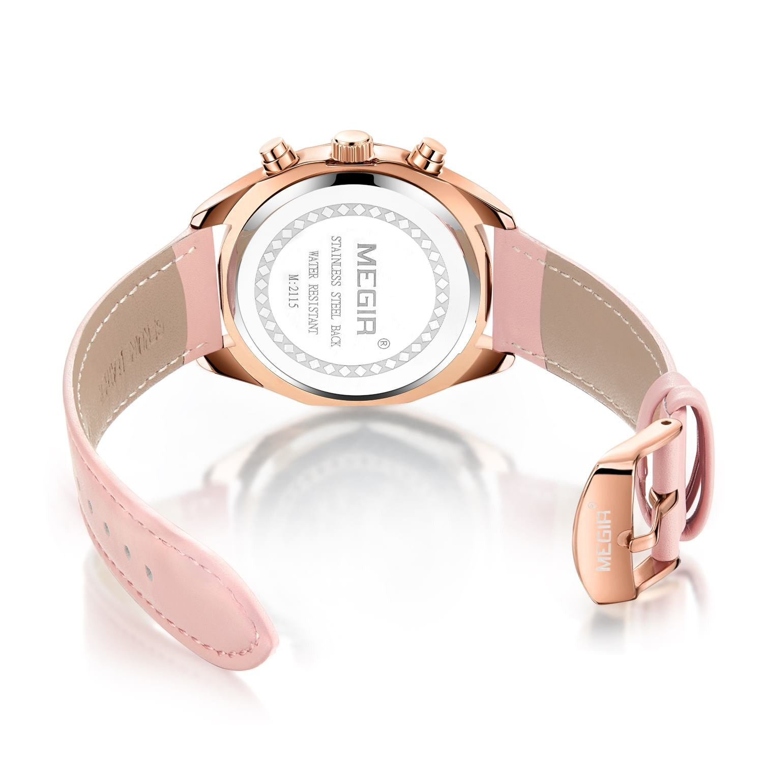 MEGIR Women's Watches Fashion Pink Leather for Women, 2115 - MEGIR