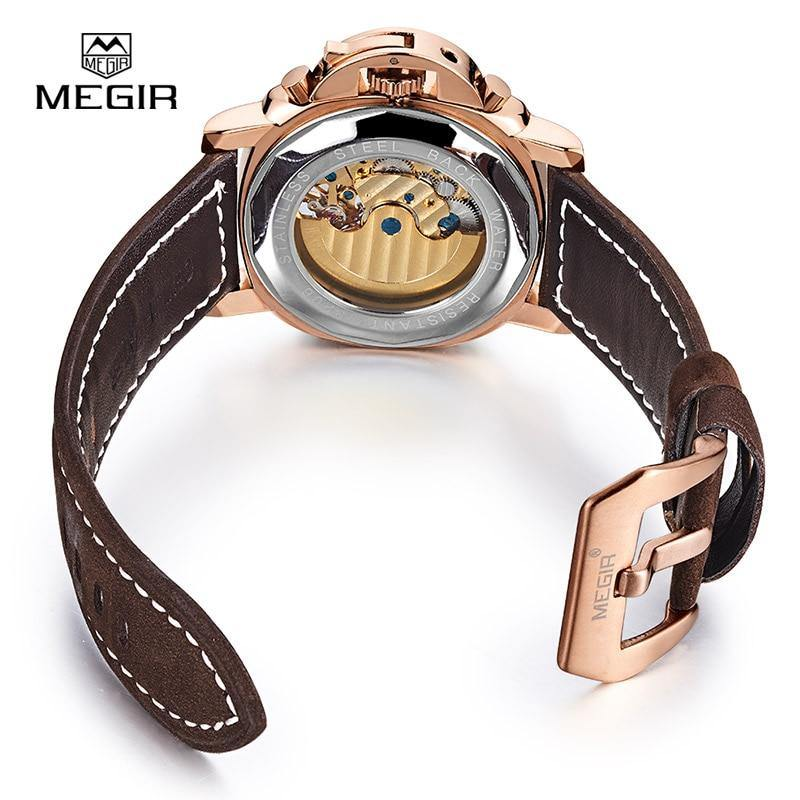 Megir luxury men's army brand mechanical watches fashion  leather wristwatch man skeleton hour for male 3206AG - MEGIR