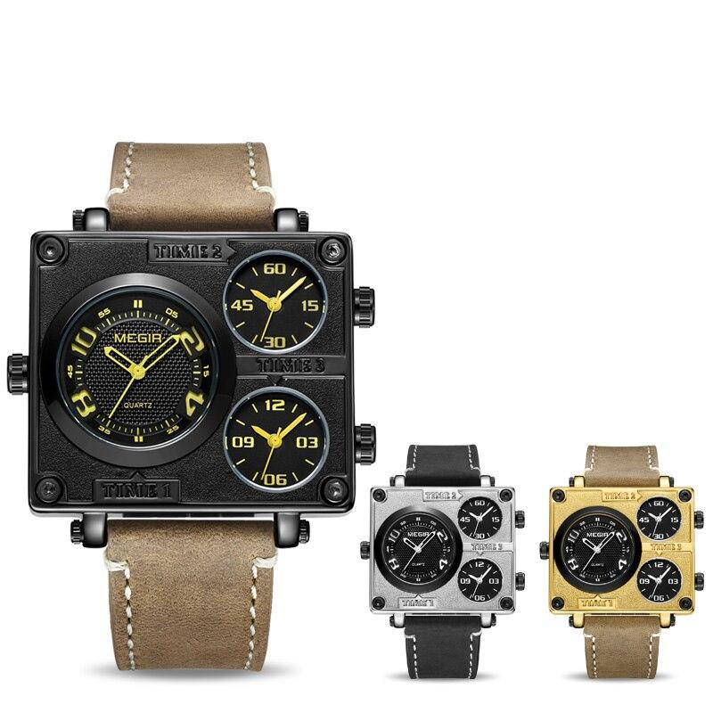 MEGIR Waterproof Quartz Watches with Multiple Time Zone Causal Sport Military Watch 2069 - MEGIR