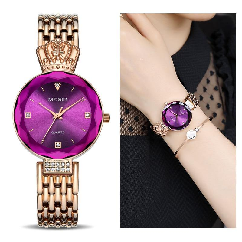 MEGIR Women Watches Rose Gold Brass Strap Luxury Elegant Ladies Watch Women 4216 - MEGIR