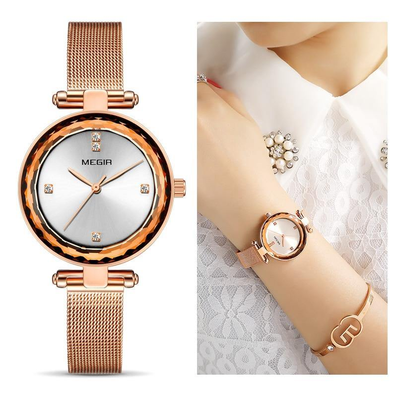 New MEGIR Luxury Women Watches with Brass Case and Steel Mesh Strap Waterproof Fashion Ladies  Watch 4211 - MEGIR