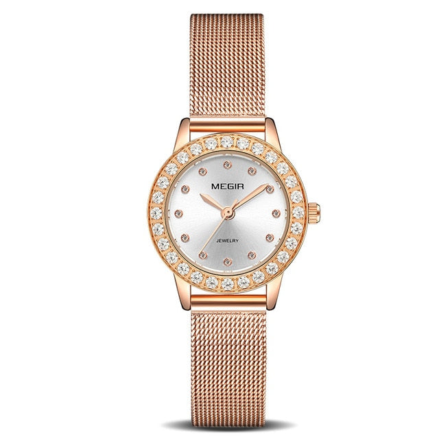 Women Luxury Watch MEGIR Twinkly Small Women Watches Rose Gold 4205 - MEGIR