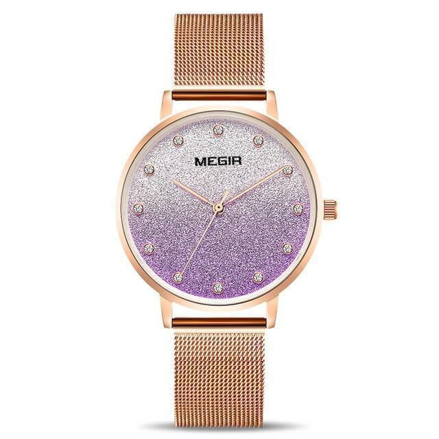 MEGIR MS4215--Mystery Flower Series--Noble Purple Lady Watches - MEGIR